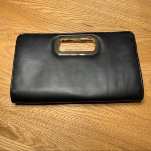 Call It Spring black faux leather clutch
